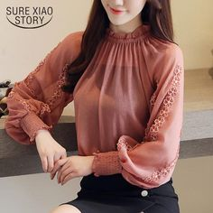 New 2018 Fashion Women Blouse Chiffon Shirt Loose Lantern Long Sleeves Lace Stitching Bottoming Shirt Female Tops Blusa 0792 30 Full Sleeves Design, Sleeves Designs For Dresses, Hijab Fashion, Korean Fashion, Fashion Dresses, Blouse Styles, Blouse Designs, Chiffon Blouses, Chiffon Shirt