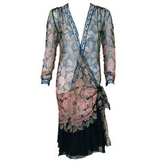 1920's Pink-Camellias Floral Print Chiffon Wrap Dress & Matching Flapper Coat   From a collection of rare vintage day dresses at https://www.1stdibs.com/fashion/clothing/day-dresses/