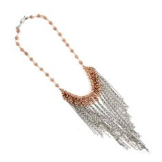 Rose Gold Necklace with Sterling Silver Chains    $380