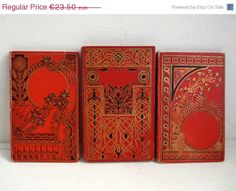 Antique French RED Books 3 Story by FrenchKlimBim