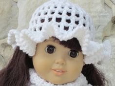 White cotton crocheted hat for an 18 doll by TinaDollDesigns, $6.00
