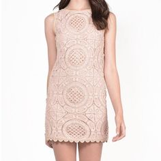 Chic Nude Crochet Dress Beautiful crochet dress in a classy nude tone. Back zipper for closure. Keep in mind there is no stretch in this dress. It is 100% Polyester. Throw some wine heels and matching lipstick to complete the look  Dresses Mini