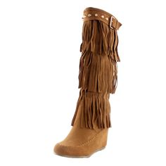 Nature Breeze Moccasin Fringe Fashion Boots,Tan synthetic suede Heel / Platform Height~ / Shaft high-heels / mid-calf / round-toe does-not-contain-animal-products , fringe, studded Fringe Fashion, Fashion Boots, Women's Fashion, Knee High Wedge Boots, Shoes Heels Wedges, Shoes Sandals, Wedge Shoes, Tan Shoes, Flats