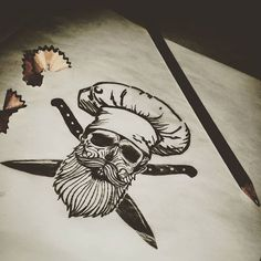 "#mulpix Próximo tatuaje: ""MUERO POR COCINAR"" #tattoos #tattooarms #skulltattoo #skull #beard #beardsofinstagram #beardsandtattoos #beardskull #chef #cooking #cook #knife #ink #inked #freehand #sketch #sketching"