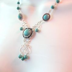 Turquoise Chandelier Necklace  Turquoise Slider by TheWireRose, $37.50