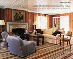 """Love the striped carpet with some whitein it. we have to re-carpet the living room. """"Family Room in new house - knotty pine paneling help! - Home Decorating & Design Forum - GardenWeb"""" Knotty Pine Rooms, Knotty Pine Decor, Knotty Pine Paneling, Knotty Pine Living Room, Knotty Pine Kitchen, Painted Wood Walls, Wood Panel Walls, Painted Mantle, Wooden Walls"""