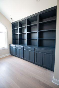Office Built Ins, Office Bookshelves, Office Shelf, Basement Built Ins, Office Storage, Hallway Office, Office Shelving, Built In Shelves Living Room, Built In Bookcase
