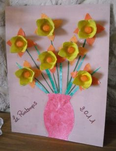 flower craft idea for kids Mothers Day Crafts For Kids, Winter Crafts For Kids, Diy For Kids, Easter Activities, Spring Activities, Egg Carton Crafts, Vase Crafts, How To Make Paper Flowers, Easy Art Projects