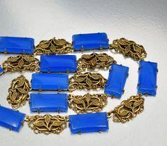 Vintage Blue Chalcedony Gold Filigree Art Deco Necklace Antique Jewelry Art Deco Jewelry Wedding Jewelry
