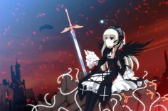 rozen maiden blonde hair dress feathers red eyes rozen maiden suigintou sword uiu weapon wings wallpaper background