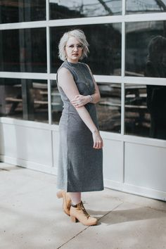 Monochromatic grey dress, grey glasses and grey hair. Click through for details…