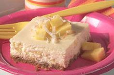 With coconut in the graham cracker crust and pineapple in the filling, these cheesecake squares will transport you to the tropics after just one bite.