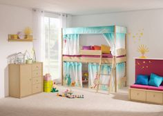 FLEXIMO play bed (height 125 cm) with canopy construction high and fabrics fairytale