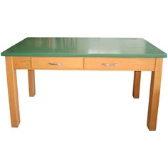 1stdibs - School Lab Table with oak base and epoxy resin top; two available explore items from 1,700    global dealers at 1stdibs.com  This would make a great dining table!  Love the color on the top