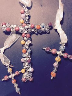 Small Cross.....Wall Cross....Large Cross All made from dried flowers beads!