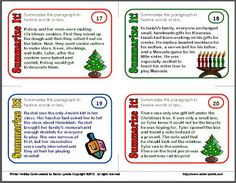 Summarizing task cards are an excellent addition to your centers or to your classroom games. This set of summarizing task cards features a winter holidays theme, covering Christmas, Hanukkah, and Kwanzaa. Plus, they're free! Teacher Freebies, Classroom Freebies, Classroom Games, Classroom Ideas, Holiday Themes, Christmas Activities, Holiday Traditions, Holiday Fun, Holiday Ideas