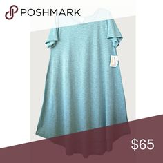 """🎀 LuLaRoe Carly dress 🔸Jersey short sleeves shift midi dress. The fabric is very soft to the touch. The color is even, like on top, not obmre, like in the picture - just because of the light. Fabric looks like heather / pinstripes of mint, aqua, and off white color. There's more green in the pattern, rather than blue. Very soft.  🔸Details: length along back 45"""", armpits 21"""", 54% cotton, 36% polyester, 6% rayon, 4% spandex. Please use only ✔OFFER 👈 button for all price negotiations…"""