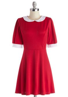 Year After Yesteryear Dress. For cute style that's sure to enchant for years to come, dress up in this vintage-inspired red dress! #redNaN