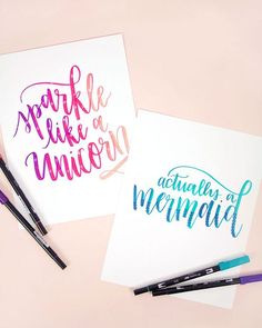 actually a mermaid - free hand lettered printables #printable #unicorn #mermaid
