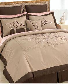 RE-PIN!!! ♥ Cherry Blossom Bedding - gorgeous pink and taupe brown bedding set with cherry blossoms ♥