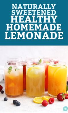 My ultimate guide to healthy homemade lemonade! Here's how to make healthier, naturally sweetened lemonade from scratch, plus EIGHT delicious flavor variations. Healthy Lemonade, Homemade Strawberry Lemonade, Raspberry Lemonade, Honey Lemonade, Flavored Lemonade, Mango Lemonade, Detox Juice Recipes, Detox Drinks, Juice Cleanse
