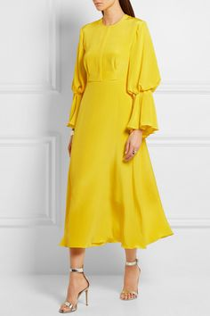 Bright-yellow silk-satin Concealed hook and zip fastening at back 100% silk; lining: 76% acetate, 18% silk, 6% polyamide Dry clean Made in England
