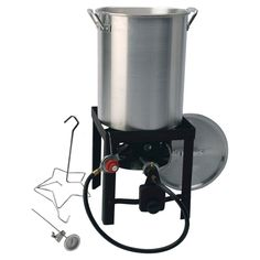 Kamp Kitchen Outdoor Aluminum (Silver) Cooker And Turkey Fryer 29 30 QT