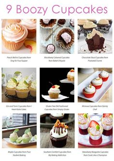 9 Boozy Cupcakes to spice up any party! http://thedish.plated.com/9-boozy-cupcake-recipe/