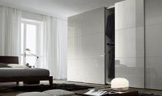 modern glossy grey sliding door wardrobe design