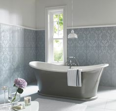 A range of luxurious damask wall tiles in a contemporary matt finish with co-ordinating plain tiles in multi-use so they can adorn your floor as well. It's your room. Damask Decor, Damask Wall, Bathroom Splashback, Bathroom Wall, Bathroom Ideas, Bathroom Faucets, Chic Bathrooms, Dream Bathrooms, Laura Ashley Bathroom