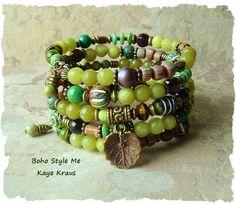 Earthy Rustic Tribal Boho Layered Wrap Bracelet by BohoStyleMe