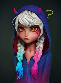 Angry, Olya Anufrieva - -You can find Zbrush and more on our website. Harley Quinn Drawing, Harley Quinn Comic, Girl Cartoon Characters, Cute Cartoon Girl, Fictional Characters, Cute Disney Wallpaper, Cute Cartoon Wallpapers, Harey Quinn, Angry Girl