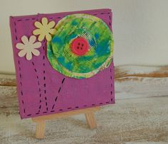 Original Mini Canvas Mixed Media Painting........Paper Flower