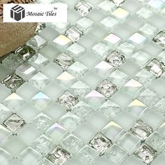 white iridescent mosaics glass silver kitchen backsplash tile bathroom wall mirror deco tiles fireplace tile More