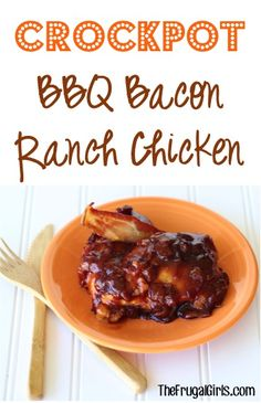 Crockpot BBQ Bacon Ranch Chicken Recipe - from TheFrugalGirls.com