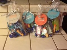 Gift bags for the nurses after baby comes. Includes chocolate, gum, hand sanitizer, Chapstick, mentos, and a fancy pen. Just got done making them. Idea found on Pinterest. Thanks.