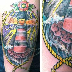 Lighthouse tattoo | nautical tattoo | nautical sleeve | August 17, 2013