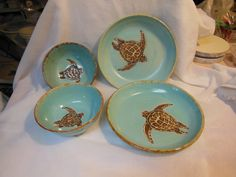 Sea Turtle Pottery Set by RikaBluePottery on Etsy, $99.00