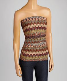 Look what I found on #zulily! Rust Zigzag Ruched Tube Top #zulilyfinds
