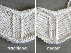 Do your k2tog's look neater than your ssk's?Depending on how you knit, this may neaten up your decrease stitches — give it a try! The Traditional ssk slip as if to knit, slip as if to knit.  Place your left needle into the fronts of the slipped sts and knit them together.In this photo you can see the right-leaning k2tog on the right lays flatter than the left-leaning ssk running up the left side of the decreases.  Read More →