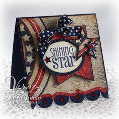 Shining Star by Vervegirl - Cards and Paper Crafts at Splitcoaststampers - Visit to grab an amazing super hero shirt now on sale! Scrapbook Expo, Scrapbook Paper Crafts, Scrapbook Cards, Scrapbooking, Paper Crafting, American Card, Military Cards, Star Cards, 3d Cards