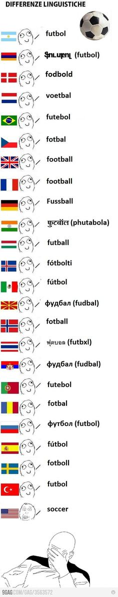 Hahaha! We pick on the English speakers but in Italian, fútbol is called calcio :)