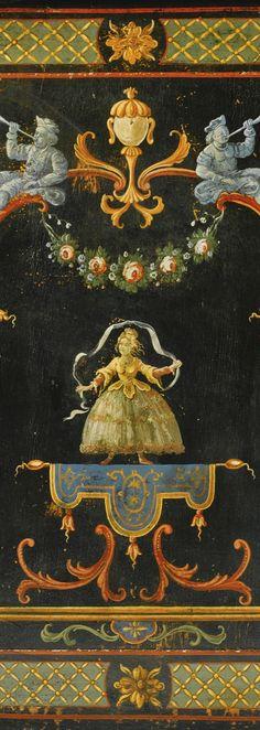 A polychrome vernis martin commode, Régence, circa 1720