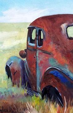 "Daily Paintworks - ""Old Rusty Sedan"" - Original Fine Art for Sale - © Barbara Haviland"