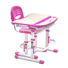 MountIt Childrens Desk and Chair Set Kids School Workstation Height Adjustable Pink >>> Check this awesome product by going to the link at the image.Note:It is affiliate link to Amazon.