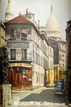 Paris in the 1950s. Montmartre with Sacre Coeur in the background.