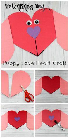 Puppy Love Preschool Heart Craft to Make this Valentine's Da.- Puppy Love Preschool Heart Craft to Make this Valentine's Day Valentine's Day Puppy Love Preschool Heart Craft - Valentine's Day Crafts For Kids, Valentine Crafts For Kids, Daycare Crafts, Toddler Crafts, Preschool Crafts, Crafts To Make, Fun Crafts, Arts And Crafts, Preschool Centers