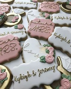 Find some good ideas for bridal shower cookies and wedding cookies to use for your wedding. Some good options for fall weddings, spring weddings and summer weddings! Elegant cookies as well as rustic cookie themes. Wedding and bridal shower cookies can be Bridal Shower Planning, Bridal Shower Party, Bridal Shower Rustic, Wedding Shower Cookies, Wedding Showers, Bridal Shower Desserts, Cookies For Wedding, Ideas For Bridal Shower, Wedding Shower Foods