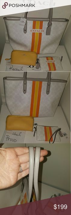 "Nwt coach varsity stripe city tote, 3 pc set NWT Coach Signature Varsity Stripe City Tote. F38405, wristlet f66052, and cosmetic pouch f52697  Chalk / Orange / Yellow. Zip Top Closure. Silver Tone Hardware. 2 Slip Pockets & 1 Zip Pocket. Handles with Approx. 9.5"" Drop. Dimensions: Approx. 16"" (L) X 11"" (H) X 5"" (D).  Wristlet measures.  6 1/4"" (L) x 4"" (H)   Cosmetic case measures  7 x 4 x 3  All are new with tags. Coach Bags Totes"