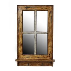 Add a sophisticated touch to your home decor with this wall mirror, showcasing a contemporary design, shaped like a window. This wall mirror is crafted of wood and glass for an ideal decor piece.